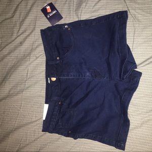 Brand New Dark Blue Stretch Denim Shorts
